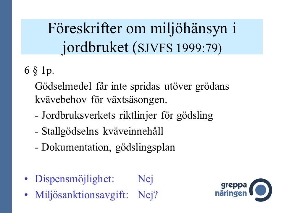 Föreskrifter om miljöhänsyn i jordbruket ( SJVFS 1999:79) 6 § 1p. Gödselmedel får inte spridas utöver grödans kvävebehov för växtsäsongen. - Jordbruks