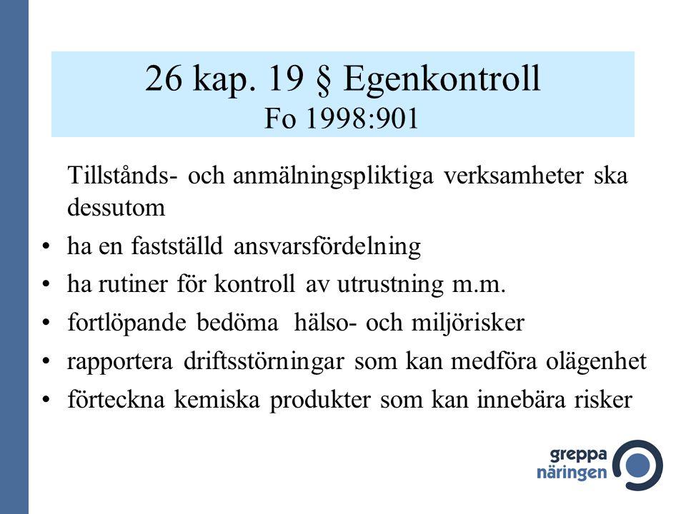 26 kap. 19 § Egenkontroll Fo 1998:901 Tillstånds- och anmälningspliktiga verksamheter ska dessutom ha en fastställd ansvarsfördelning ha rutiner för k