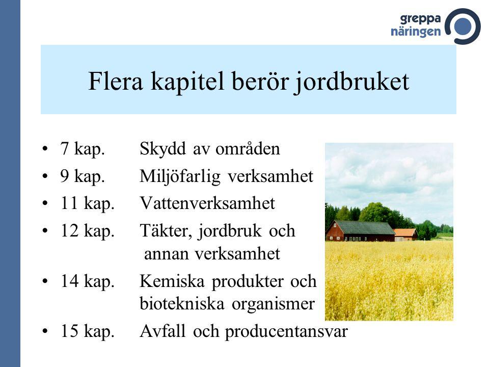 Flera kapitel berör jordbruket 7 kap. Skydd av områden 9 kap. Miljöfarlig verksamhet 11 kap.Vattenverksamhet 12 kap.Täkter, jordbruk och annan verksam