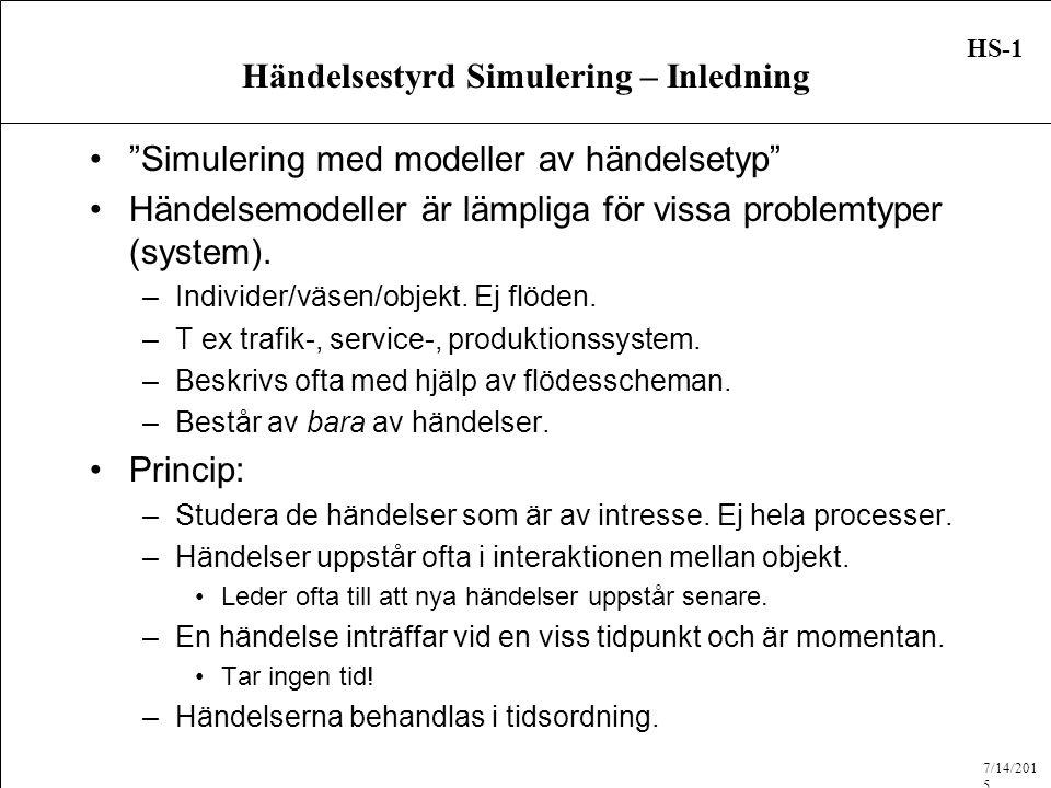 7/14/2015 HS-1 Händelsestyrd Simulering – Inledning Simulering med modeller av händelsetyp Händelsemodeller är lämpliga för vissa problemtyper (system).