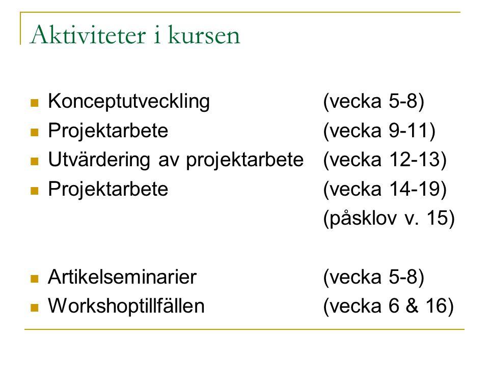 Aktiviteter i kursen Konceptutveckling(vecka 5-8) Projektarbete(vecka 9-11) Utvärdering av projektarbete(vecka 12-13) Projektarbete(vecka 14-19) (påsk