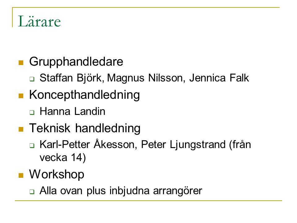 Lärare Grupphandledare  Staffan Björk, Magnus Nilsson, Jennica Falk Koncepthandledning  Hanna Landin Teknisk handledning  Karl-Petter Åkesson, Pete