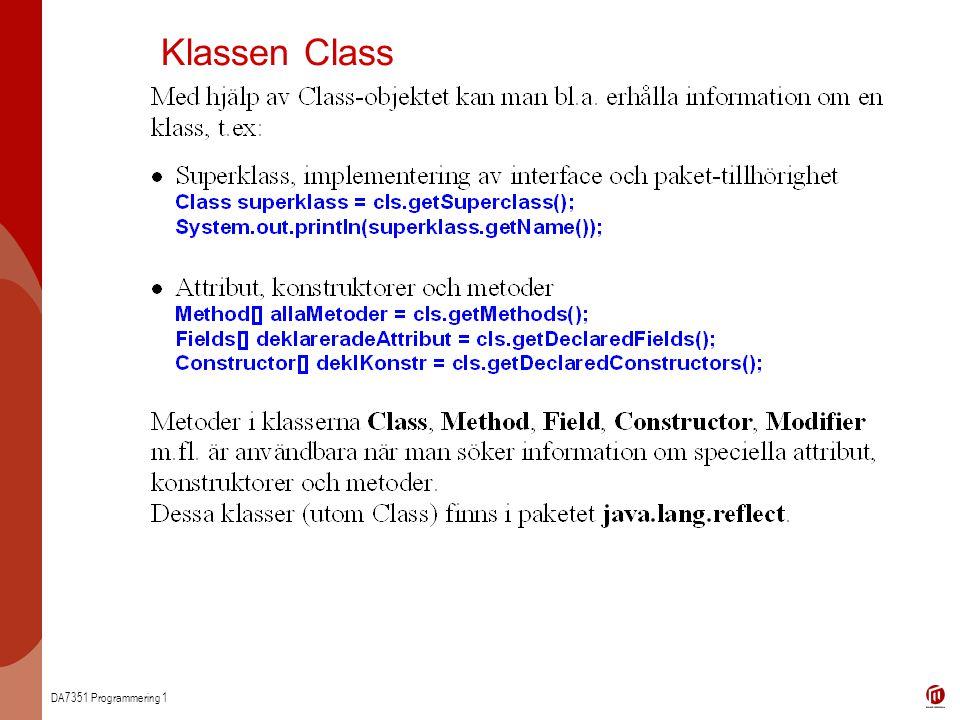 DA7351 Programmering 1 Klassen Class
