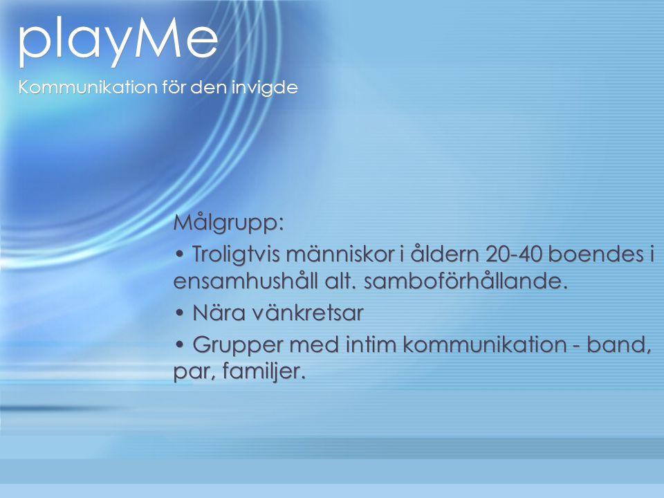 playMe Kommunikation för den invigde Målgrupp: Troligtvis människor i åldern 20-40 boendes i ensamhushåll alt.