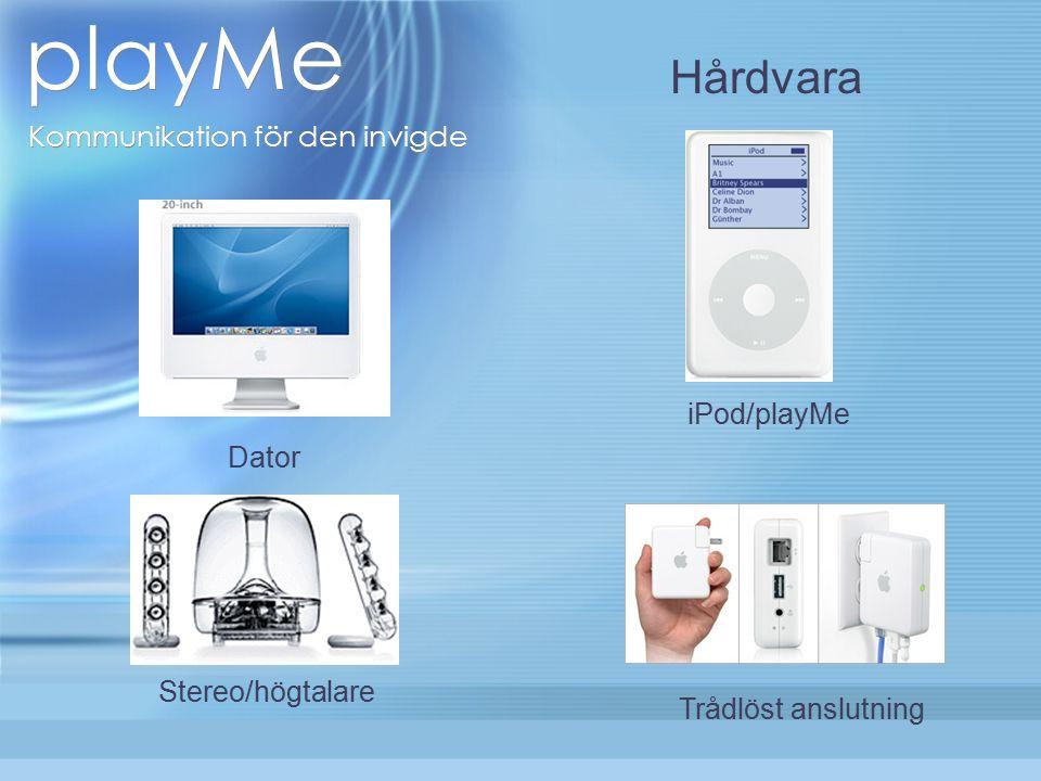 playMe Kommunikation för den invigde Dator Stereo/högtalare iPod/playMe Trådlöst anslutning Hårdvara