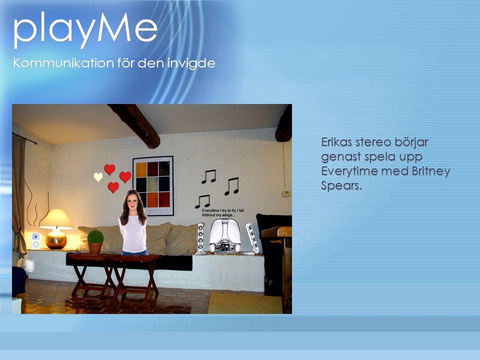 playMe Kommunikation för den invigde Exempel: Mellan kompisar som ofta byter eller snackar om musik Bandmedlemmar - spela in nya låtar och skicka dem till de andra medlemmarna Vänner som har sina egna kodord och sätt att meddela sig till varandra.