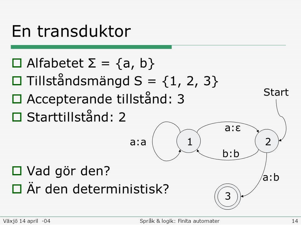 14Språk & logik: Finita automaterVäxjö 14 april -04 En transduktor  Alfabetet Σ = {a, b}  Tillståndsmängd S = {1, 2, 3}  Accepterande tillstånd: 3