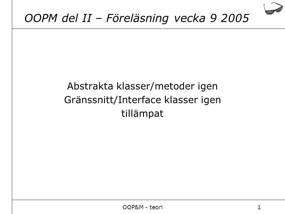 OOP&M - teori1 OOPM del II – Föreläsning vecka 9 2005 Abstrakta klasser/metoder igen Gränssnitt/Interface klasser igen tillämpat