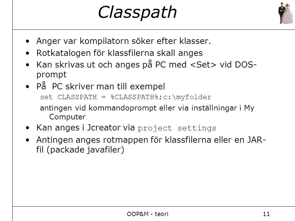 OOP&M - teori11 Classpath Anger var kompilatorn söker efter klasser.