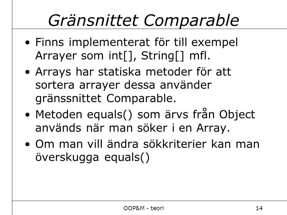 OOP&M - teori14 Gränsnittet Comparable Finns implementerat för till exempel Arrayer som int[], String[] mfl.
