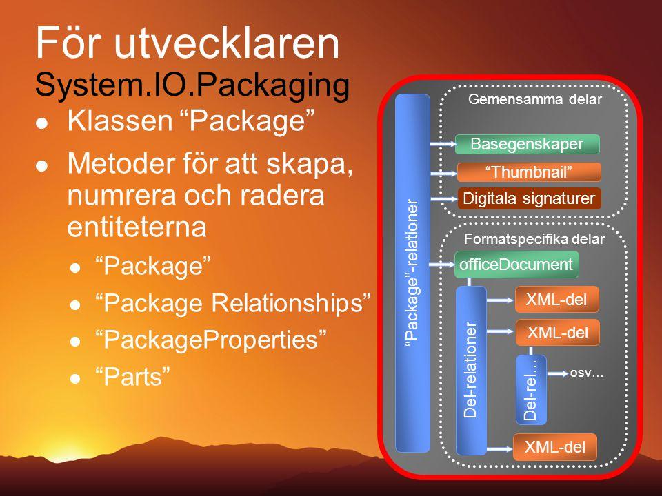 Klassen Package Metoder för att skapa, numrera och radera entiteterna Package Package Relationships PackageProperties Parts Package -relationer Basegenskaper Gemensamma delar Thumbnail Digitala signaturer officeDocument XML-del Formatspecifika delar osv… Del-rel… XML-del Del-relationer För utvecklaren System.IO.Packaging