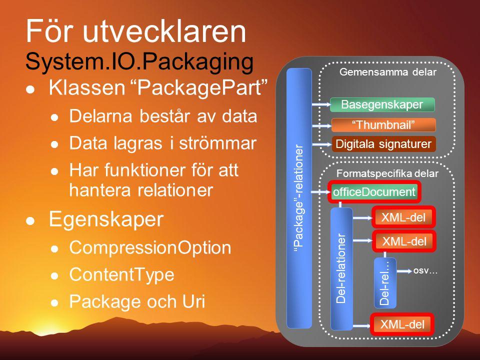 För utvecklaren System.IO.Packaging Klassen PackagePart Delarna består av data Data lagras i strömmar Har funktioner för att hantera relationer Egenskaper CompressionOption ContentType Package och Uri Package -relationer Basegenskaper Gemensamma delar Thumbnail Digitala signaturer officeDocument XML-del Formatspecifika delar osv… Del-rel… XML-del Del-relationer