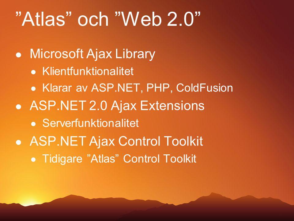 Atlas och Web 2.0 Microsoft Ajax Library Klientfunktionalitet Klarar av ASP.NET, PHP, ColdFusion ASP.NET 2.0 Ajax Extensions Serverfunktionalitet ASP.NET Ajax Control Toolkit Tidigare Atlas Control Toolkit