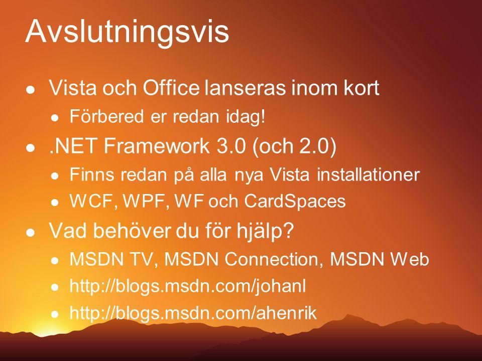 Avslutningsvis Vista och Office lanseras inom kort Förbered er redan idag!.NET Framework 3.0 (och 2.0) Finns redan på alla nya Vista installationer WCF, WPF, WF och CardSpaces Vad behöver du för hjälp.