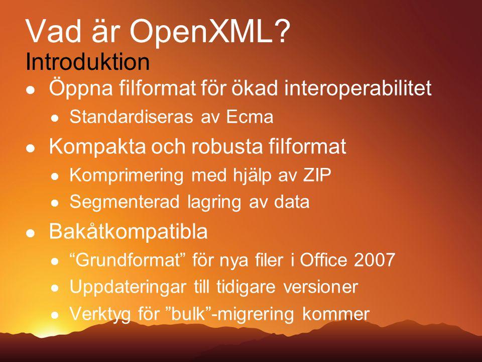 En fil för Office Ser ut som vilken fil som helst för Windows Intern representation Olika typer av data lagras som ZIP-komprimerade XML-komponenter Kan zippas upp Applikationer kan modifiera utan Office-applikationer Korrupta delar behöver inte förstöra filen Formaten Generell struktur File Container Egenskaper Kommentarer Grafer Kod, makron… Bilder, video, ljud… Skräddarsydd XML WordML / SpreadsheetML…
