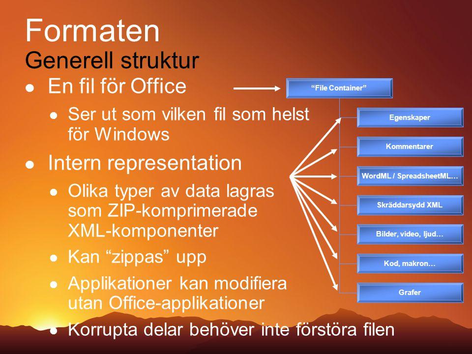 OpenXML och ODF Fördelar och nackdelar för OpenXML Rik specifikation Formler och skräddarsydda scheman Men mycket omfattande att sätta sig in i Resurssnålt och snabbt Tack vare Non-mixed -content modellen Men inte lika tydligt att följa Full funktionalitet i Office 2007 Och tidigare versioner av Office också!