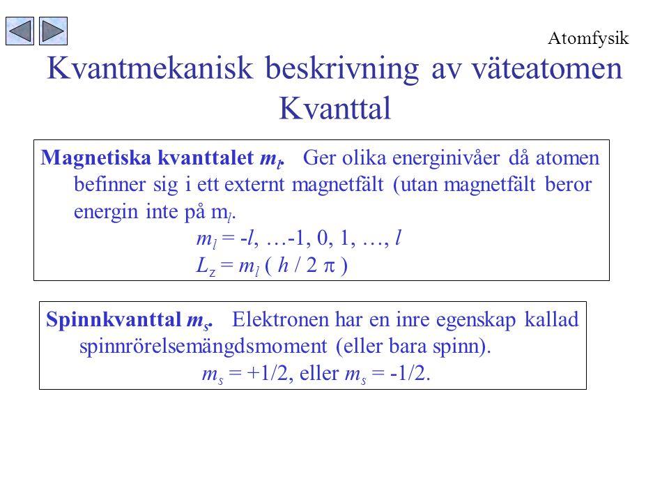 Kvantmekanisk beskrivning av väteatomen Kvanttal Magnetiska kvanttalet m l.