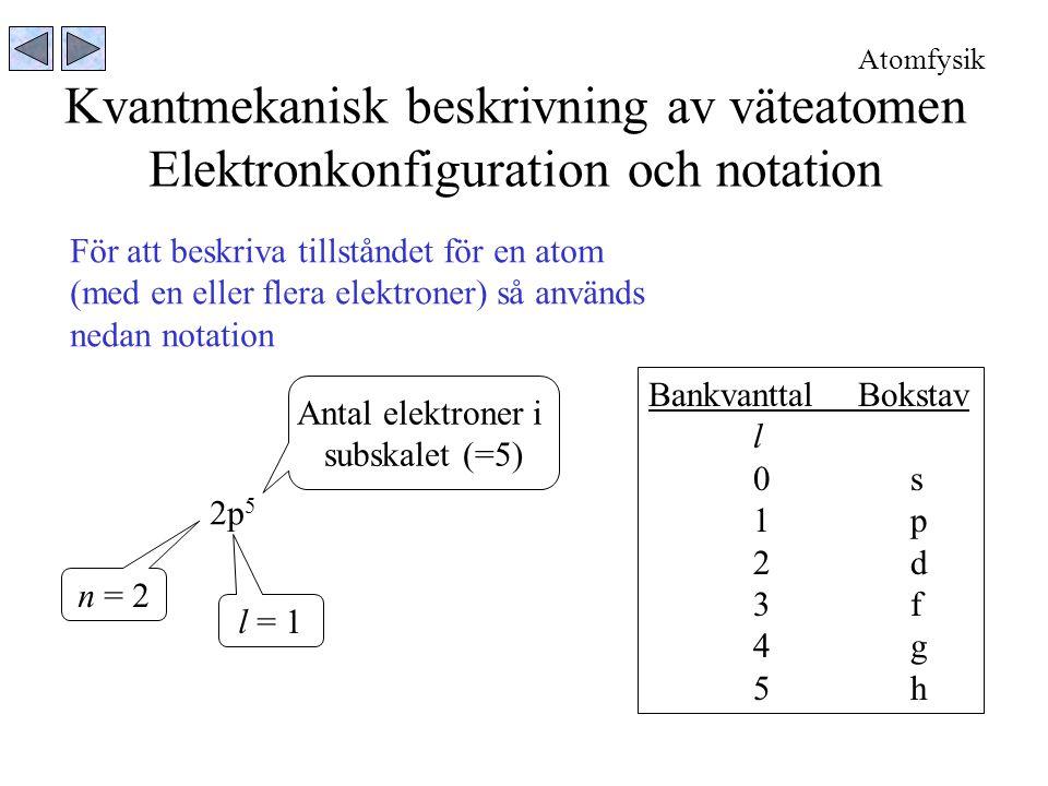 Kvantmekanisk beskrivning av väteatomen Elektronkonfiguration och notation 2p 5 n = 2 l = 1 Antal elektroner i subskalet (=5) För att beskriva tillstå