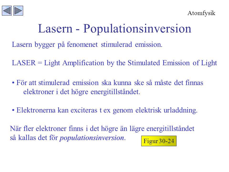 Lasern bygger på fenomenet stimulerad emission. LASER = Light Amplification by the Stimulated Emission of Light Lasern - Populationsinversion Figur 30