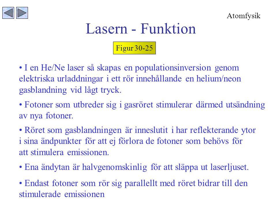 Lasern - Funktion Figur 30-25 I en He/Ne laser så skapas en populationsinversion genom elektriska urladdningar i ett rör innehållande en helium/neon gasblandning vid lågt tryck.