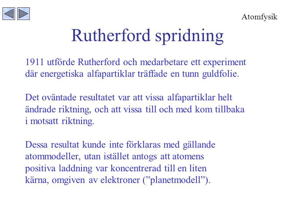 Rutherford spridning 1911 utförde Rutherford och medarbetare ett experiment där energetiska alfapartiklar träffade en tunn guldfolie.