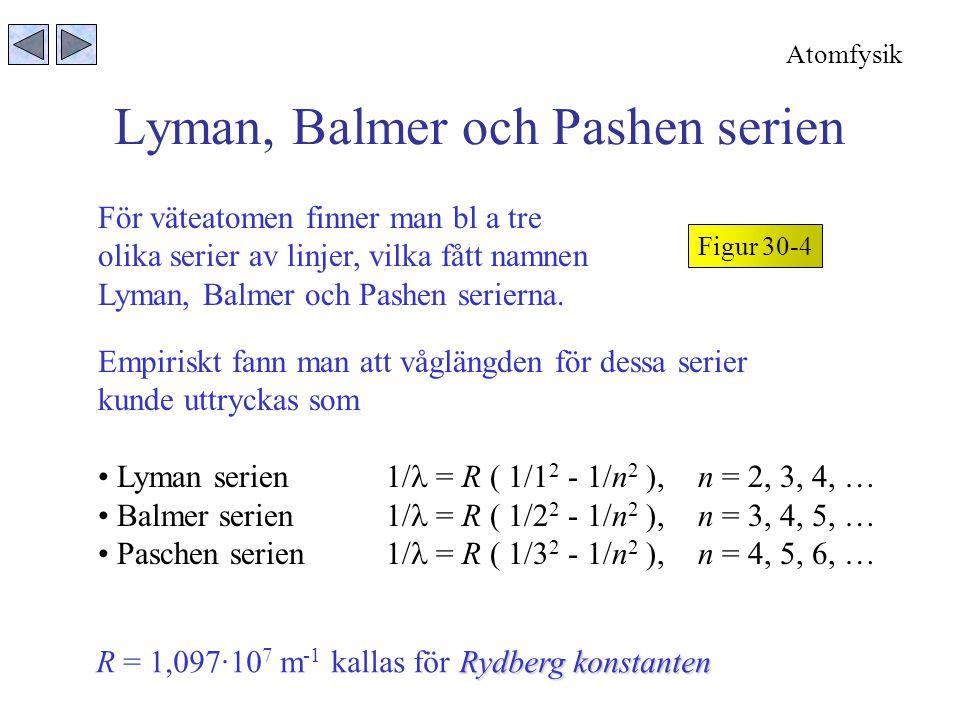 Lyman, Balmer och Pashen serien Figur 30-4 För väteatomen finner man bl a tre olika serier av linjer, vilka fått namnen Lyman, Balmer och Pashen serierna.