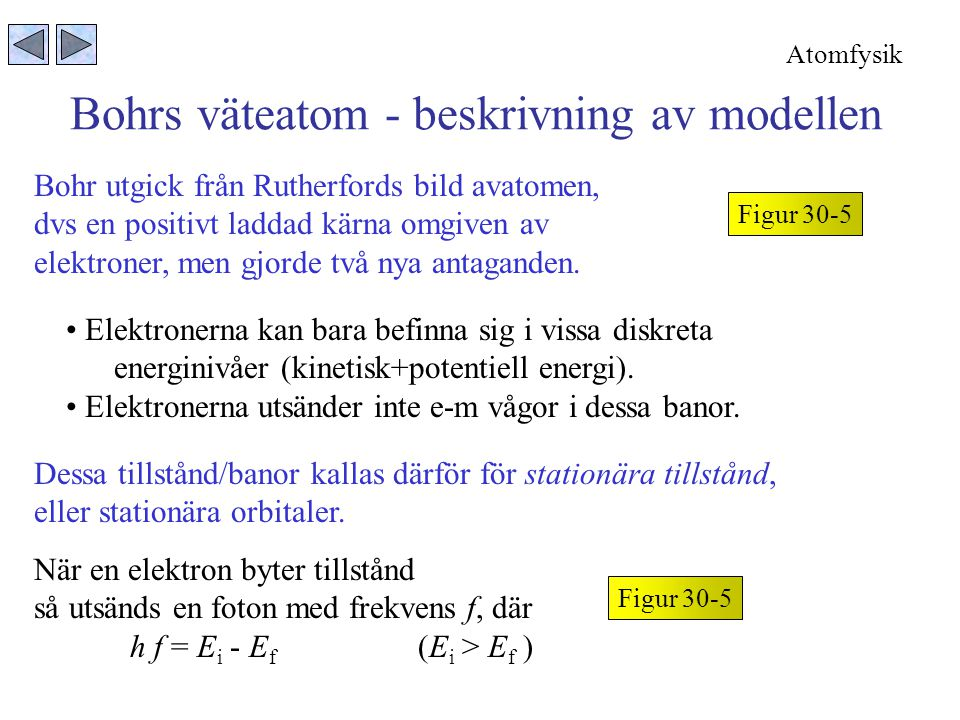 Bohrs väteatom - beskrivning av modellen Figur 30-5 Bohr utgick från Rutherfords bild avatomen, dvs en positivt laddad kärna omgiven av elektroner, men gjorde två nya antaganden.