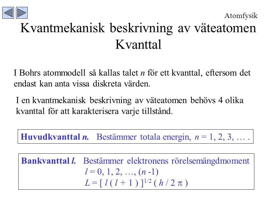 Kvantmekanisk beskrivning av väteatomen Kvanttal I Bohrs atommodell så kallas talet n för ett kvanttal, eftersom det endast kan anta vissa diskreta värden.