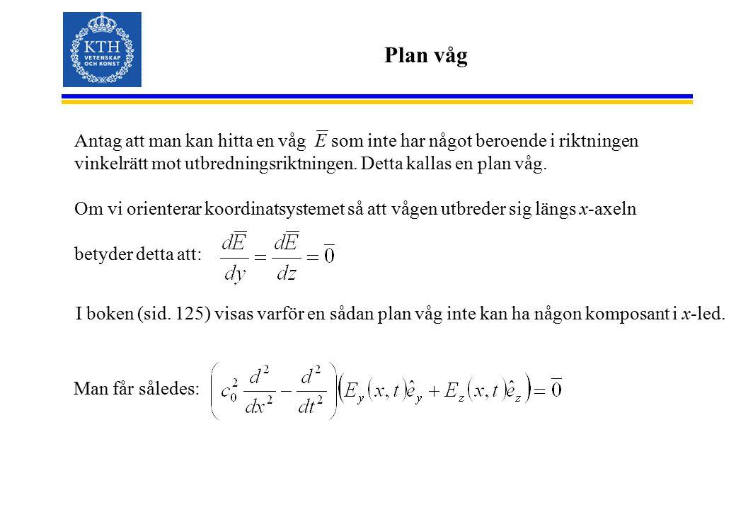 Endimensionella vågekvationen, variabelseparationsmetoden I allmänhet komplex Amplitud Fas Tecknet bestämmer utbredningsriktningen I y-led får vi: