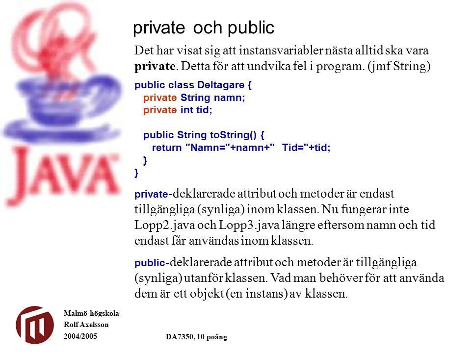 Malmö högskola Rolf Axelsson 2004/2005 DA7350, 10 poäng private och public Det har visat sig att instansvariabler nästa alltid ska vara private.