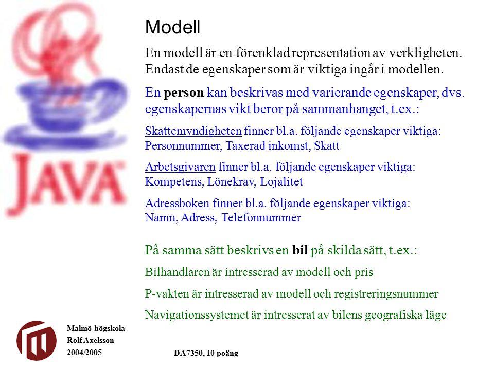 Malmö högskola Rolf Axelsson 2004/2005 DA7350, 10 poäng Modell En modell är en förenklad representation av verkligheten.