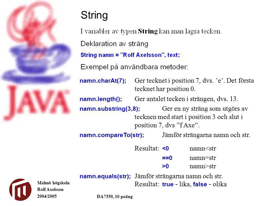 Malmö högskola Rolf Axelsson 2004/2005 DA7350, 10 poäng String namn.charAt(7); Ger tecknet i position 7, dvs.