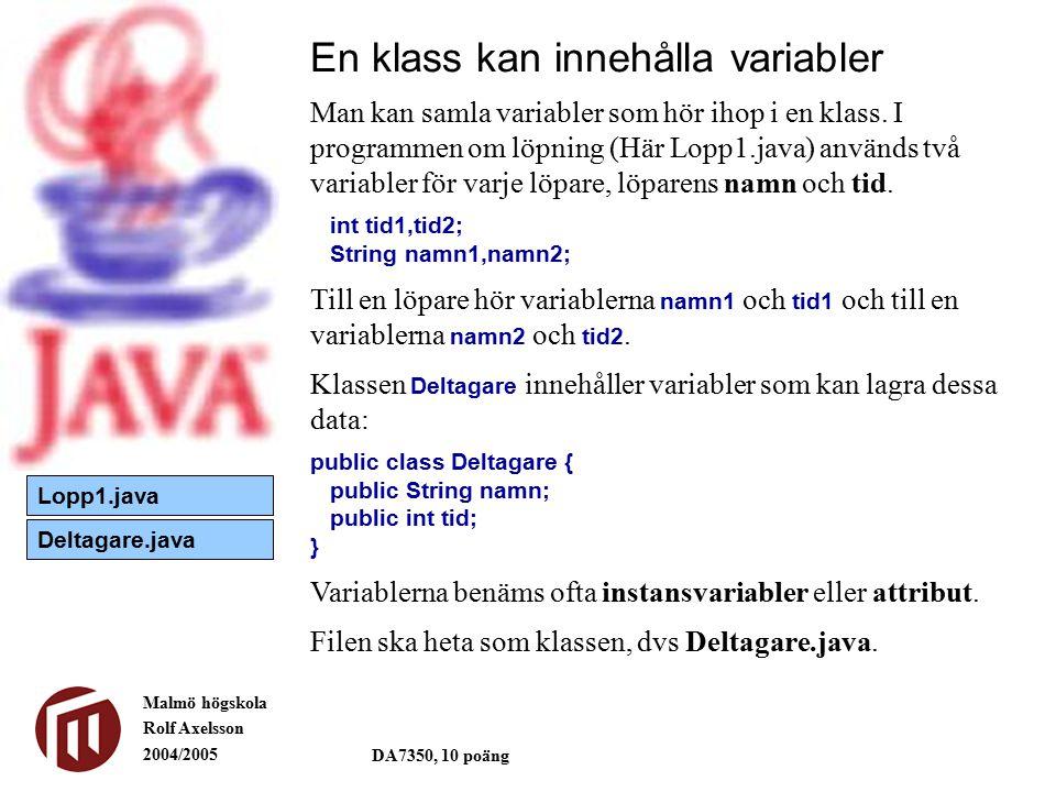 Malmö högskola Rolf Axelsson 2004/2005 DA7350, 10 poäng En klass kan innehålla variabler public class Deltagare { public String namn; public int tid; } Ett objekt av klassen Deltagare kan användas varje gång man behöver lagra information om en löpare.