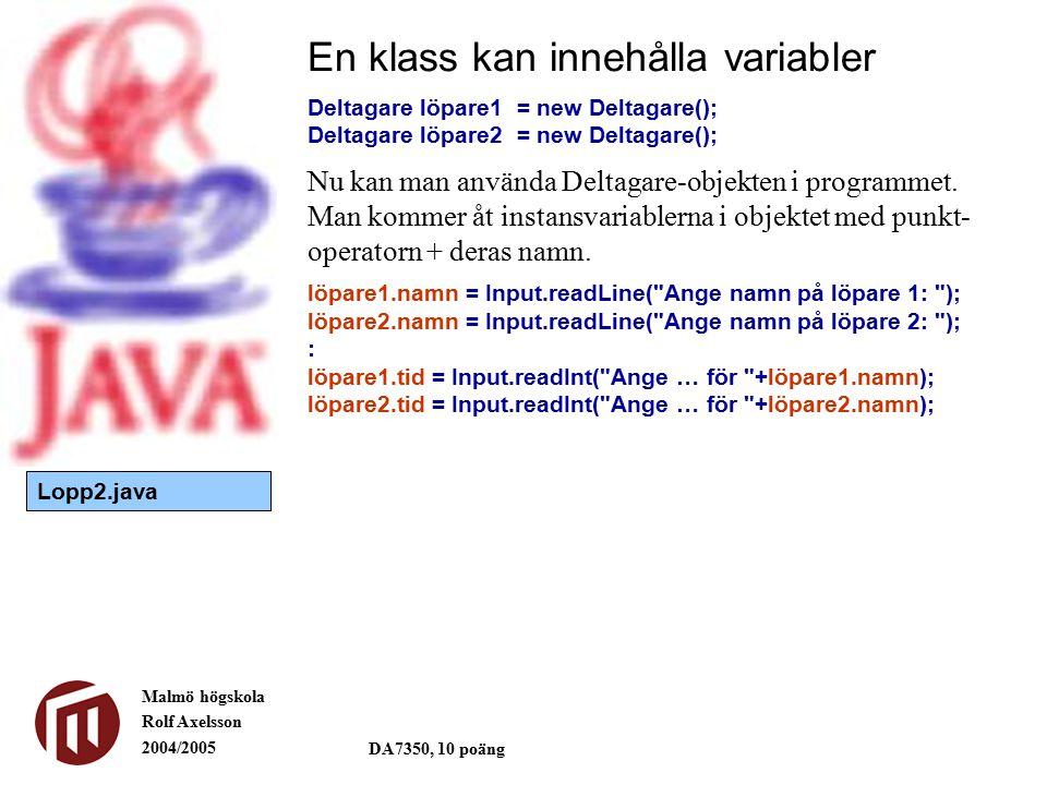 Malmö högskola Rolf Axelsson 2004/2005 DA7350, 10 poäng En klass kan innehålla variabler Deltagare löpare1= new Deltagare(); Deltagare löpare2= new Deltagare(); Nu kan man använda Deltagare-objekten i programmet.