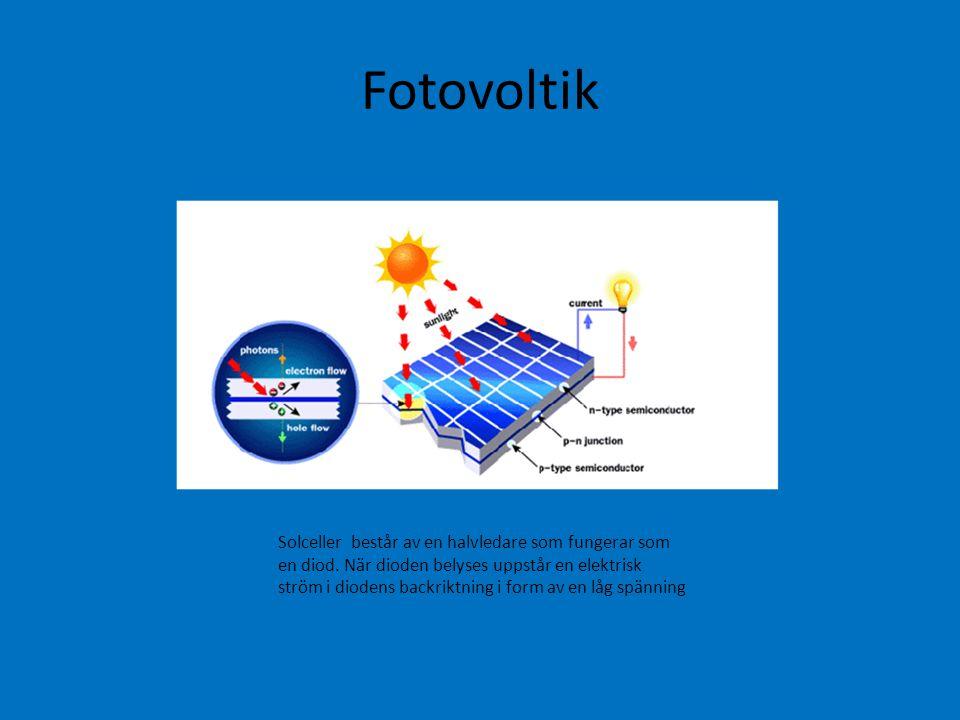 Fotovoltik Solceller består av en halvledare som fungerar som en diod. När dioden belyses uppstår en elektrisk ström i diodens backriktning i form av