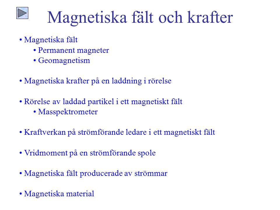 Magnetiska fält och krafter Magnetiska fält Permanent magneter Geomagnetism Magnetiska krafter på en laddning i rörelse Rörelse av laddad partikel i e