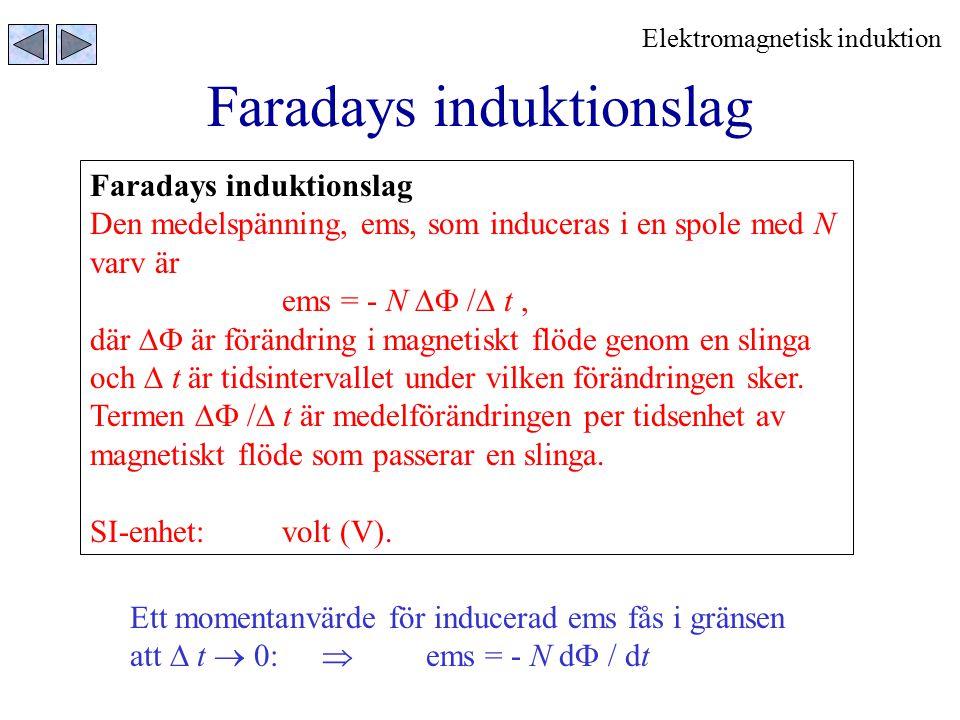 Faradays induktionslag Den medelspänning, ems, som induceras i en spole med N varv är ems = - N  /  t, där  är förändring i magnetiskt flöde geno