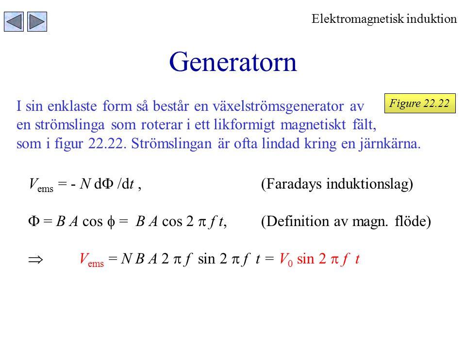 Generatorn Elektromagnetisk induktion I sin enklaste form så består en växelströmsgenerator av en strömslinga som roterar i ett likformigt magnetiskt