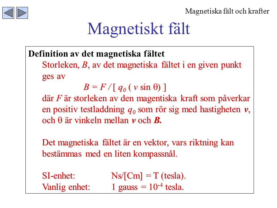 Magnetiskt fält Definition av det magnetiska fältet Storleken, B, av det magnetiska fältet i en given punkt ges av B = F / [ q 0 ( v sin  ) ] där F ä