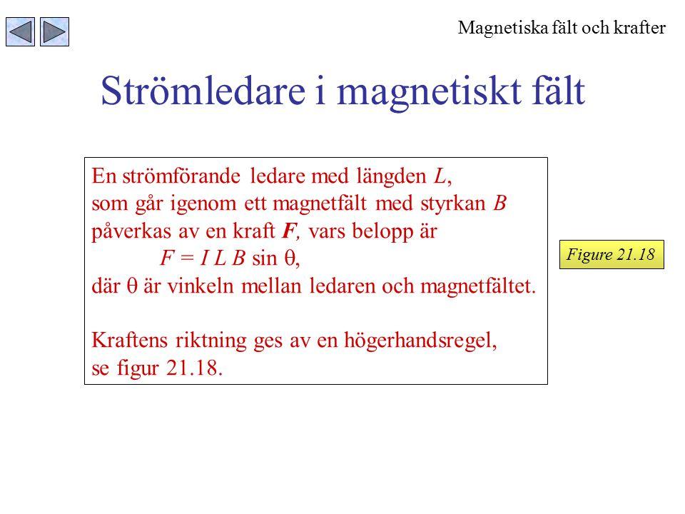 Strömledare i magnetiskt fält Figure 21.18 En strömförande ledare med längden L, som går igenom ett magnetfält med styrkan B påverkas av en kraft F, v