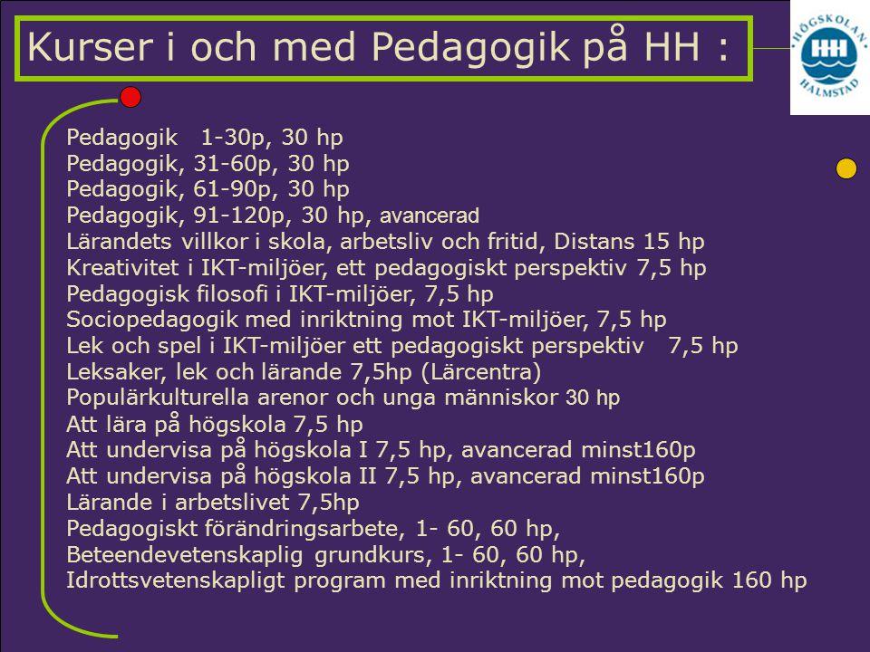 Pedagogik 1-30p, 30 hp Pedagogik, 31-60p, 30 hp Pedagogik, 61-90p, 30 hp Pedagogik, 91-120p, 30 hp, avancerad Lärandets villkor i skola, arbetsliv och