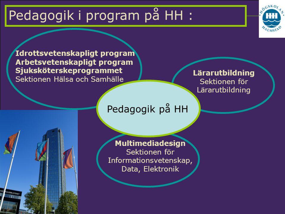 Pedagogik i program på HH : Lärarutbildning Sektionen för Lärarutbildning Idrottsvetenskapligt program Arbetsvetenskapligt program Sjuksköterskeprogra