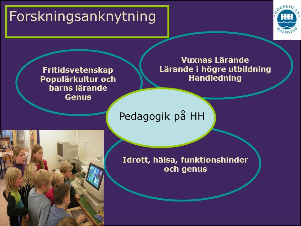 Forskningsanknytning Vuxnas Lärande Lärande i högre utbildning Handledning Fritidsvetenskap Populärkultur och barns lärande Genus Idrott, hälsa, funkt
