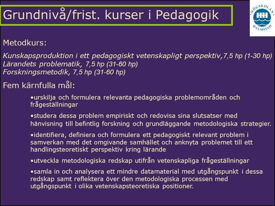 Metodkurs: Kunskapsproduktion i ett pedagogiskt vetenskapligt perspektiv, 7,5 hp (1-30 hp) Lärandets problematik, 7,5 hp (31-60 hp) Forskningsmetodik,