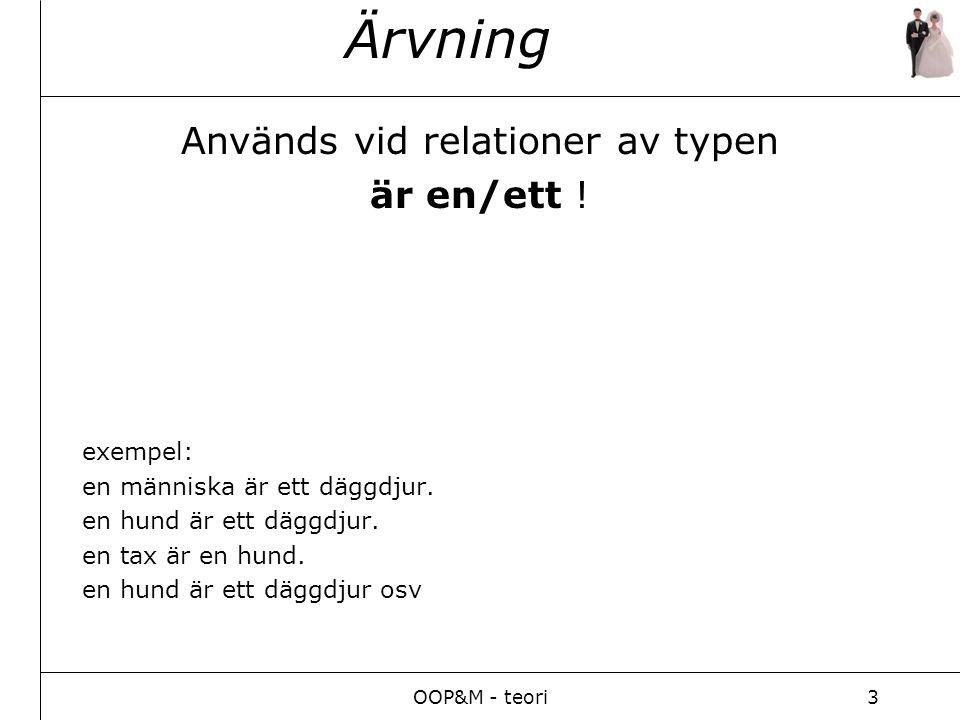 OOP&M - teori3 Ärvning Används vid relationer av typen är en/ett .