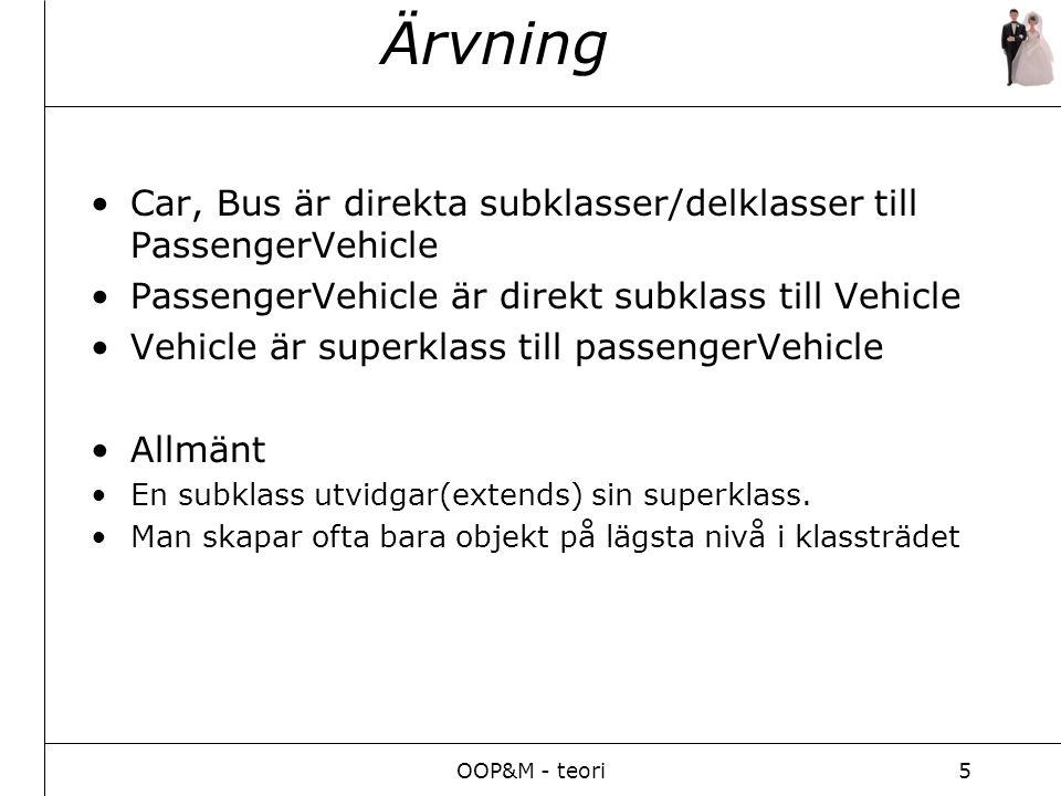 OOP&M - teori5 Ärvning Car, Bus är direkta subklasser/delklasser till PassengerVehicle PassengerVehicle är direkt subklass till Vehicle Vehicle är superklass till passengerVehicle Allmänt En subklass utvidgar(extends) sin superklass.