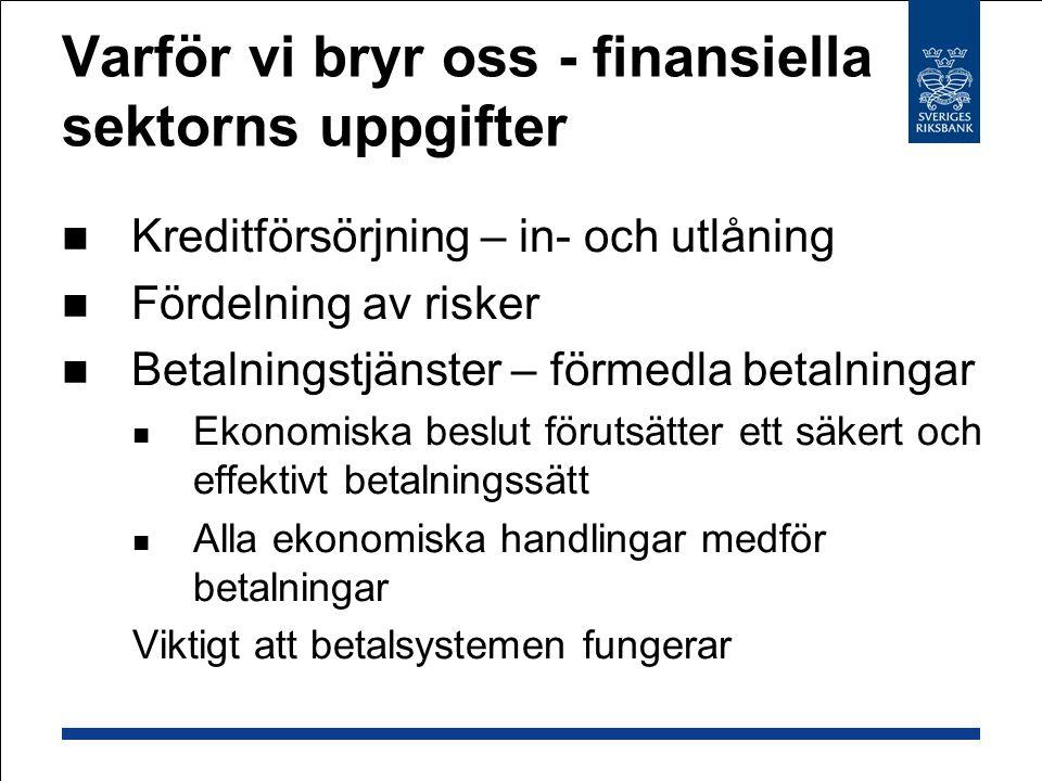 Riksbankens roll i kris Ger ut pengar och har valutareserv Kan ge obegränsad likviditet – normal eller nödkrediter Lån mot säkerheter Straffränta Likviditetsbehov, systemviktig, solvent Riksbanken tar minimal förlustrisk