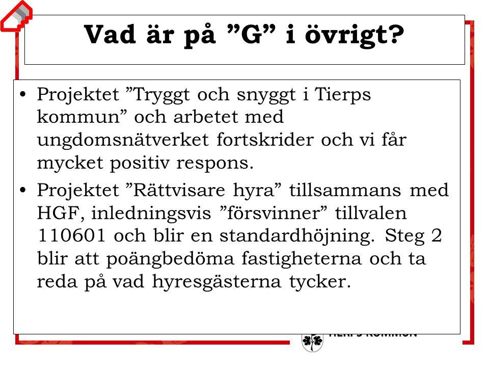 """Uppstartsmöte 2 budget 2012 Vad är på """"G"""" i övrigt? Projektet """"Tryggt och snyggt i Tierps kommun"""" och arbetet med ungdomsnätverket fortskrider och vi"""