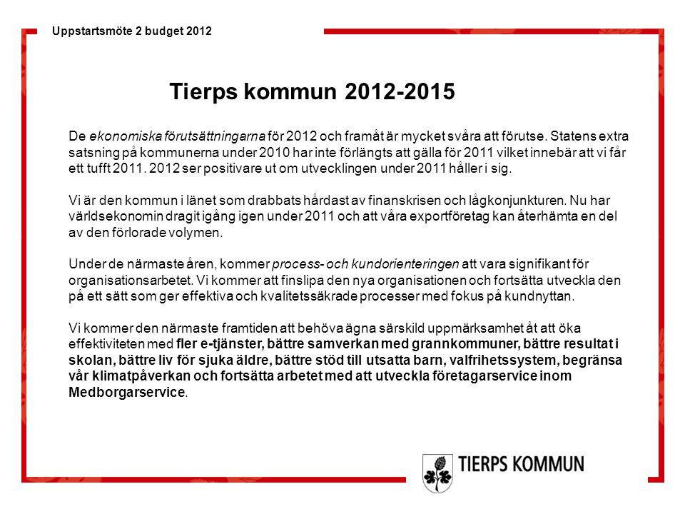 Uppstartsmöte 2 budget 2012 De ekonomiska förutsättningarna för 2012 och framåt är mycket svåra att förutse. Statens extra satsning på kommunerna unde