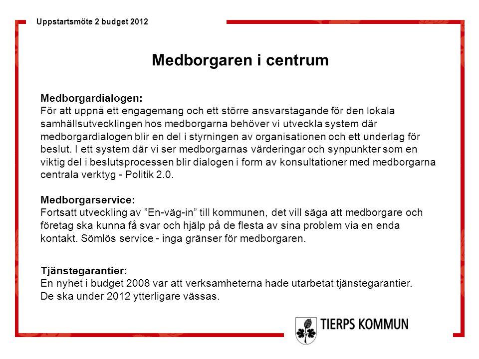 Uppstartsmöte 2 budget 2012 Omvärlden Ständig utveckling och behov av flexibilitet, snabbhet, anpassningsbarhet, omvärldsbevakning…… Ekonomi/resurser/ kompetens FoU/lagstiftning/miljö Konkurrens/attraktionskraft Befolkningsutveckling Näringsliv/konjunktur/arbetsmarknad Politik/styrningmedia